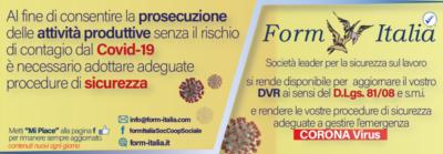 Contattaci subito a info@form-italia.com per richiedere subito una consulenza per emergenza CORONA Virus